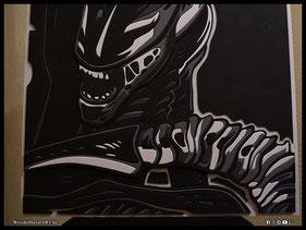 WoodnMetalART Scrollsaw Dekupiersäge Holzbild Alien