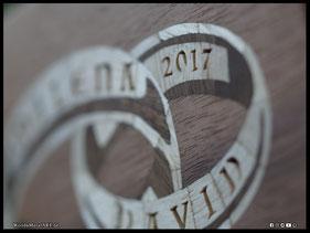 WoodnMetalART Scrollsaw Dekupiersäge Holzbild Furnier Ringe Hochzeit