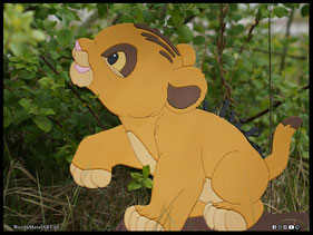 WoodnMetalART Scrollsaw Dekupiersäge Holzbild Simba König der Löwen