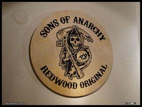 WoodnMetalART Scrollsaw Dekupiersäge Holzlogo Sons of Anarchy