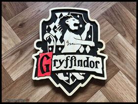 WoodnMetalART Scrollsaw Dekupiersäge Holzwappen Harry Potter Hauswappen Gryffindor
