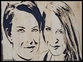 WoodnMetalART Scrollsaw Holzportrait Freunde