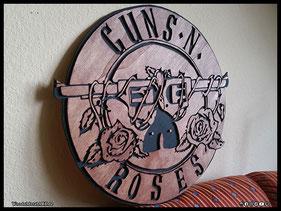 WoodnMetalART Scrollsaw Dekupiersäge Holzlogo Guns'n'Roses