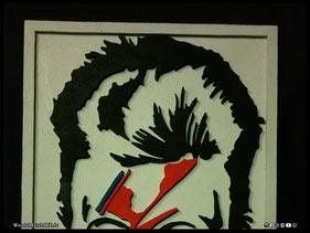 WoodnMetalART Scrollsaw Dekupiersäge Holzportrait David Bowie