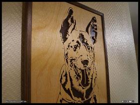 WoodnMetalART Scrollsaw Holzportrait Hund