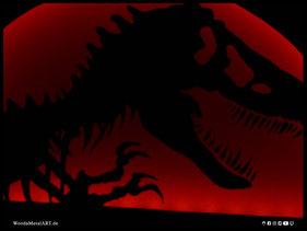 WoodnMetalART Scrollsaw Dekupiersäge Holzlogo Jurassic Park LED