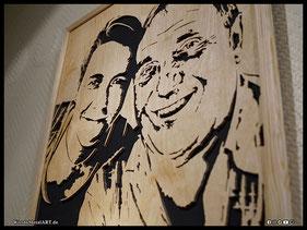 WoodnMetalART Scrollsaw Holzportrait Vater Tochter