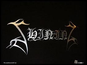 WoodnMetalART Scrollsaw Dekupiersäge Holzlogo Shining Black Metal
