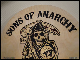 WoodnMetalART Scrollsaw Holzlogo Sons of Anarchy