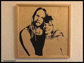 WoodnMetalART Scrollsaw Holzportrait Paar