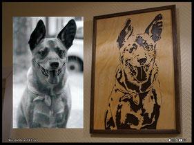 WoodnMetalART Scrollsaw Holzportrait Hund Foto