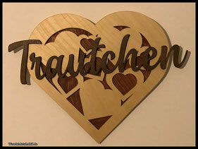 WoodnMetalART Scrollsaw Dekupiersäge Holzlogo Herz Trautchen