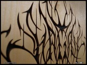 WoodnMetalART Scrollsaw Dekupiersäge Holzlogo Hagal Black Metal