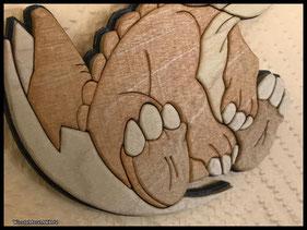 WoodnMetalART Scrollsaw Dekupiersäge Holzbild Cera In einem Land vor unserer Zeit