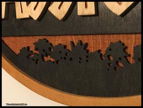 WoodnMetalART Scrollsaw Dekupiersäge Holzlogo Jurassic Park