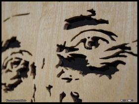 WoodnMetalART Scrollsaw Dekupiersäge Holzportrait Vater Tochter