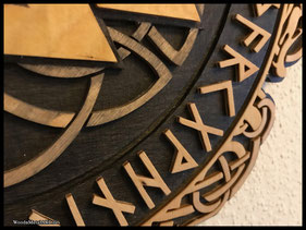 WoodnMetalART Scrollsaw Dekupiersäge Holzlogo Walknut Futhark