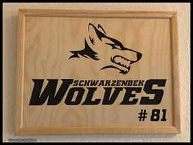 WoodnMetalART Scrollsaw Dekupiersäge Holzlogo Schwarenbek Wolves