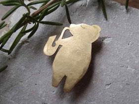 サックスくま 真鍮ブローチ 観光スポット 京都手づくり市 岐阜手づくり市にて販売します