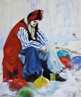 Ein Clown mit eingefrorenen Luftballons