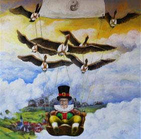 Mann fliegt von Vögeln gezogen über den Wolken