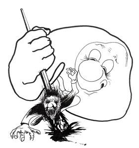 Ein Bürokrat der freudig einen Antragsteller mit der Schreibfeder durchsticht