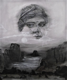Schwebender Frauenkopf über landschaft