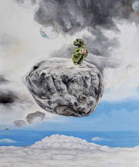 Peter Albach, Malerei, Fantasy, surreal, Seltsame Schwerkraft, Affe, Schwebender Stein, Wolkenhimmel, Seifenblase, Painting, fantasy, surreal, art, emotion, strange gravity, monkey, floating stone, cloudy sky, soap bubble,Pintura, fantasía, surrealista,