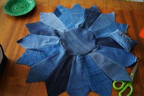 biberette denim jeans #upcycling moroccan pouf
