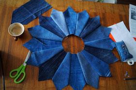 biberette denim jeans upcacling marokkanischer pouf