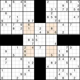 Samurai-Sudoku © Rätselbüro Martin Simon