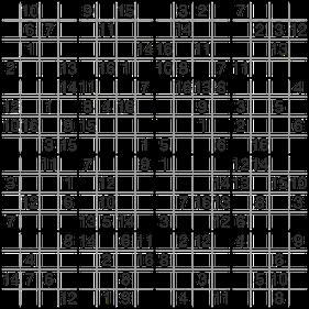 16er Super-Sudoku © Rätselbüro Martin Simon