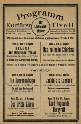 Das Tempelhofer Tivoli an der Friedrich - Karl - Straße. Kinoprogramm Seite 1.
