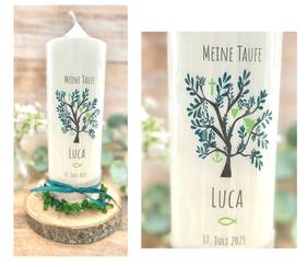 Taufkerze Kommunionkerze Konfirmationskerze Lebensbaum *Mara* mit christlichen Symbolen Taube Fisch Kreuz Anker Herz