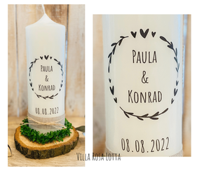 Hochzeitskerze Traukerze Herzenskranz *Paula* schwarz Stempel Ranken Kranz Herz Blätter