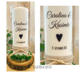 Hochzeitskerze Traukerze *Carolina* Herz erfüllt handlettering Vintage rustikal mit Jute