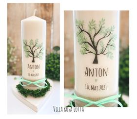 Taufkerze Kommunionkerze Konfirmationskerze Lebensbaum *Anton* Baum des Lebens