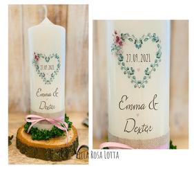 Hochzeitskerze Traukerze EUKALYPTUSHERZ BLUMEN *EMMA* HERZ BLÄTTER Eukalyptus & Oliven Zweigen RUSTIK WATERCOLOR