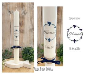 Taufkerze Kommunionkerze Konfirmationskerze Blätterkranz mit christlichen Symbolen Kelch Wellen Taube Fisch Kreuz Anker