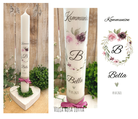 Taufkerze Kommunionkerze Konfirmationskerze Blumenkranz *Bella* Oval watercolor handlettering Blumen
