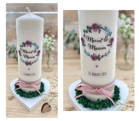Hochzeitskerze Traukerze Blumen Kreis *Antje* Moody Kranz Grün mit Blumen & Eukalyptus & Oliven Zweigen Pfingstrosen Vintage rustikal Jute