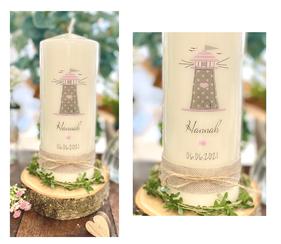 Leuchtturm-Taufkerze-Konfirmationskerze-Kerze-Taufe-Konfirmation-Maedchen-junge-personalisiert-Namen-taufspruch-Duesseldorf