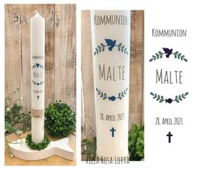 Taufkerze Kommunionkerze Konfirmationskerze Blätterzweige *Hermine* mit christlichen Symbole Taube Fisch Kreuz Blätter Kranz