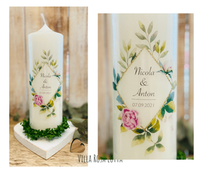 Hochzeitskerze Traukerze Blumen Geometrie Raute *Nicola* Rahmen Aus Blumen & Eukalyptus & Oliven Zweigen Pfingstrosen gold