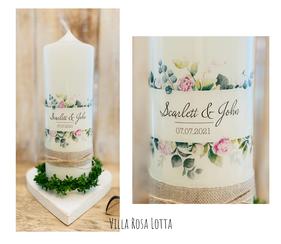 Hochzeitskerze Traukerze Blumen Bouquet *Scarlett* Rahmen Aus Blumen & Eukalyptus & Oliven Zweigen Pfingstrosen