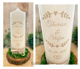 Hochzeitskerze Traukerze Blätterranke *Theresa* gold Stempel Ranken Kranz Herz Blätter Ringe