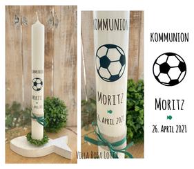 Taufkerze Kommunionkerze Konfirmationskerze Fussball *Moritz*