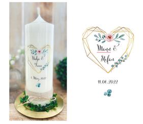 Hochzeitskerze Traukerze Geometrie Herz *Greta* Gold Blumen watercolor Ranken Eukalyptus Rosa