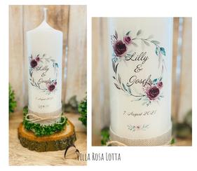 Hochzeitskerze Traukerze Blumenkranz *Lilly* Moody mit Blumen & Eukalyptus & Oliven Zweigen Vintage rustikal mit Jute