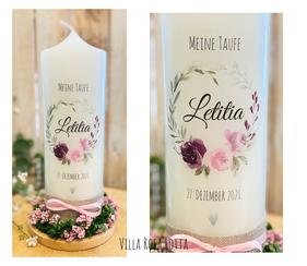 Taufkerze Kommunionkerze Konfirmationskerze Blumenkranz *Letitia* watercolor handlettering Blumen